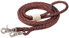 """Western Tan Softy Leather 5/8"""" Wide Roping Reins 96"""" By Aledosaddlery"""