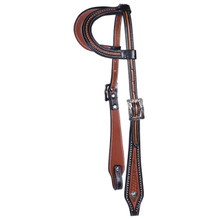 Western Two Tone  Leather One Ear Style Headstall By Aledosaddlery