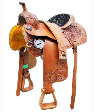 "western natural barrel racer hand carved 17"" saddle"