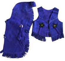 Western Blue Set of Junior Chap and Rodeo Vest with Gun and Filigree By Aledo Saddlery