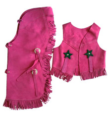 Western Pink Set of Junior Chap and Rodeo Vest with Gun and Filigree By Aledo Saddlery