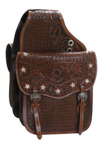 Western Brown Leather Star Inlay Saddle bag for Western Saddle  By Aledo Saddlery