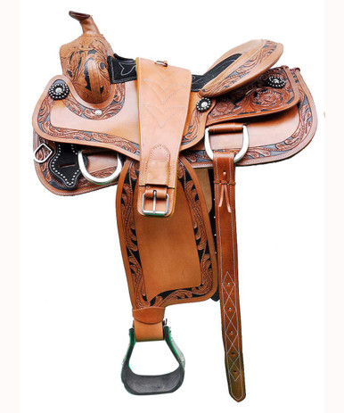"""western natural azee pleasure trail hand carved 17"""" saddle"""