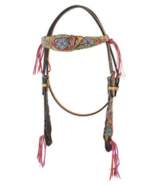 Western Natural Leather Set of Hand Painted Headstall and Breast Collar By Aledo Saddlery