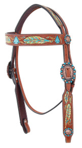 Western Natural Leather Set of Hand Painted Breast Collar & Headstall  By Aledo Saddlery