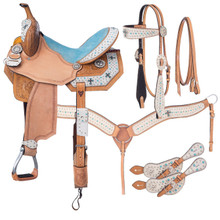 Western Natural Leather Hand Carved Hair On Overlay Barrel Racer with Matching Tack By Aledo Saddlery