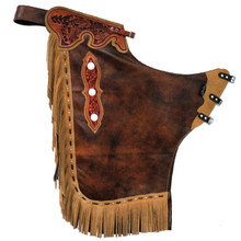 Western Two Tone Leather Chinks with Matching Fringes By Aledo Saddlery