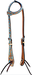 Western Natural Leather One Ear  Style Headstall with Hand carving Blue Paint Inlay By Aledo Saddlery