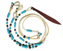 Western Natural Leather Rawhide Braided Rommel Reins By Aledo Saddlery