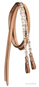 Western Natural Leather RAwhide Braided Split Reins with Silver Ferrels Reins By Aledo Saddlery