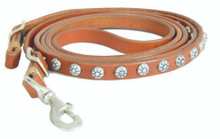 Western Brown Leather Roping Reins with Silver Spots By Aledo Saddlery