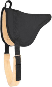 Western Black Suede Leather BareBack Saddle Pad with Girth By Aledo Saddlery