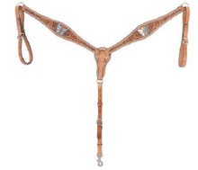 Western Natural leather Hand Carved Breast Collar with Butterfly Inlay By Aledo Saddlery