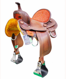 "natural zareehs barrel racer hand carved 15"" saddle"