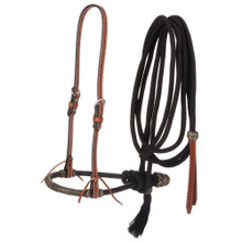 Western Tan Hand Tooled Headstall with Bosal and Mecate Reins By Aledo Saddlery