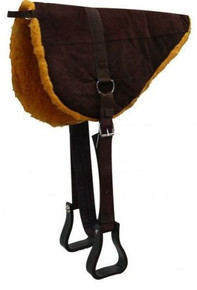 Western Brown Suede Leather BareBack Saddle Pad By Aledo Saddlery