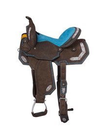 Western Brown Leather Hand Carved Barrel Racer with Beaded Inlay By Aledo Saddlery