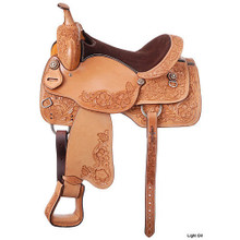 Western Natural Leather Hand Carved Barrel Racer  By Aledo Saddlery