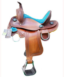"western natural zareehs barrel racer hand carved 16"" saddle"