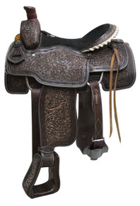Western Black Leather Hand Carved Roping Ranch By Aledo Saddlery