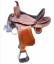"western zareehs barrel racer hand carved 17"" saddle"