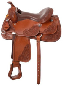 Western Tan Leather  Hand Carved Pleasure Trail By Aledo Saddlery