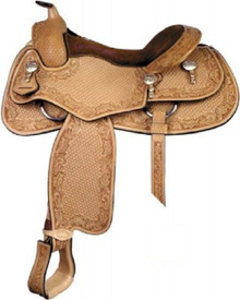 Western Natural Leather  Hand Carved Pleasure Trail with Silver HArdware By Aledo Saddlery