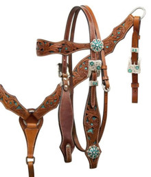 Western Natural leather Set of Headstall and Breast Collar with Green Inlay By Aledo Saddlery