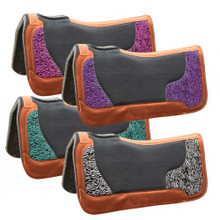 Western Black 20mm Saddle Felt Pad with Animal Print By Aledo Saddlery