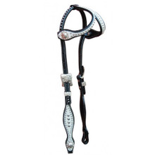 Western Black Leather White Overlay Browband Style Headstall with Dots By Aledo Saddlery
