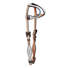 Western Natural Leather White Overlay Two Ear Style Headstall with Dots By Aledo Saddlery