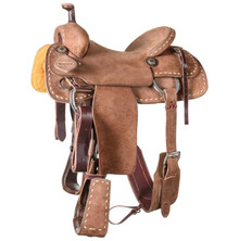 Western Strip Down Brown Leather Hand carved Roper Ranch with Cinch  By Aledo Saddlery