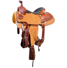 Western Brown/Natural  Leather Hand carved Roper Ranch with Cinch  By Aledo Saddlery