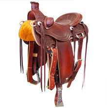 Western Havana Leather Hand carved Roper Ranch with Cinch  By Aledo Saddlery