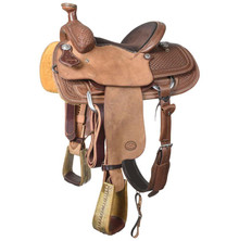 Western Brown Leather Hand carved Roper Ranch with Cinch  By Aledo Saddlery