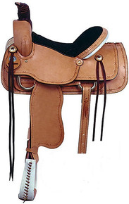 Western Natural Leather Roper Ranch Saddle with Hand Tooling & Carving  By Aledo Saddlery