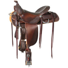 Western Havana Leather Roper Ranch Saddle with Hand Tooling & Carving  By Aledo Saddlery