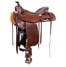 Western Havana Leather Roper Ranch Saddle with Hand  Carving  By Aledo Saddlery
