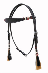 western leather multi color shaped rawhide braided headstall