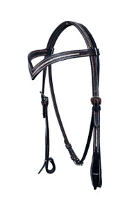 leather deep V shaped clear crystal studded headstall
