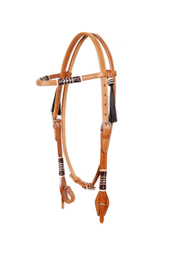 leather rawhide weaved browband style headstall