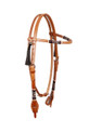 rawhide weaved leather browband style headstall