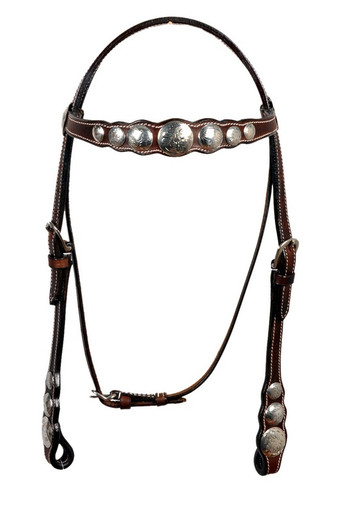 leather silver engraved conchos studded headstall