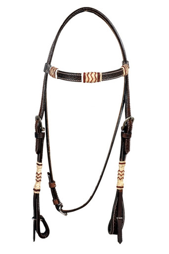 leather dark oil browband rawhide braided headstall