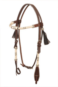 western browband style rolled rawhide braided headstall