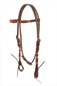 natural leather browband style rawhide braided headstall