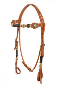 leather rawhide braided browband style headstall