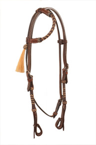 western dark oil rawhide braided leather headstall