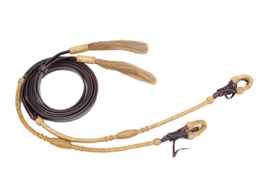 dark oil leather rawhide braided split reins
