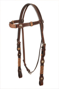 western dark oil brown leather rawhide braided headstall